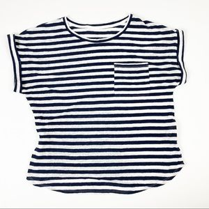 Blue & White Striped Short Sleeved Top